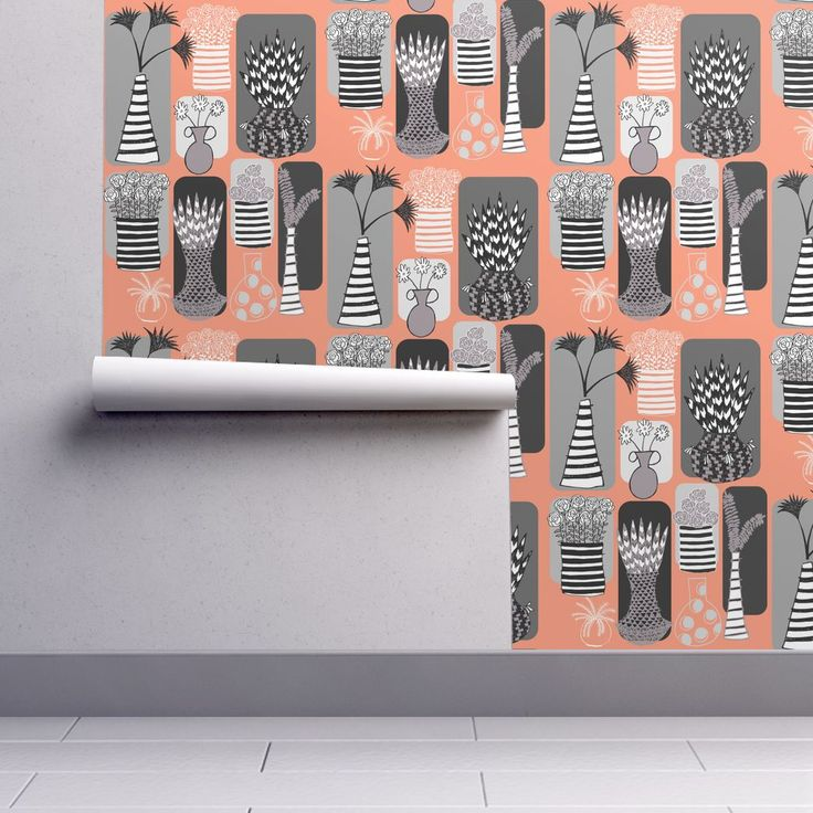 Isobar Durable Wallpaper featuring Vases and Stripes by limezinniasdesign