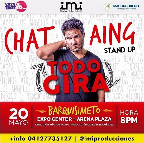 Luis Chataing presentará su show Todo gira en Barquisimeto.