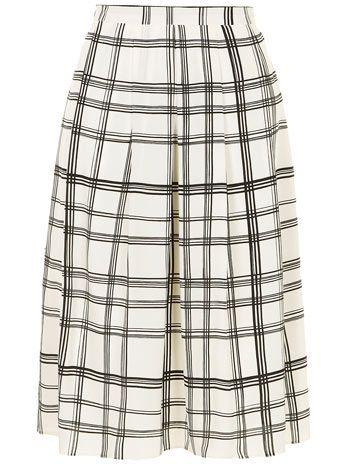 Black/white check midi skirt
