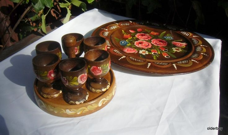 Vintage Scandinavian wooden egg cups with plate SET of 6 egg