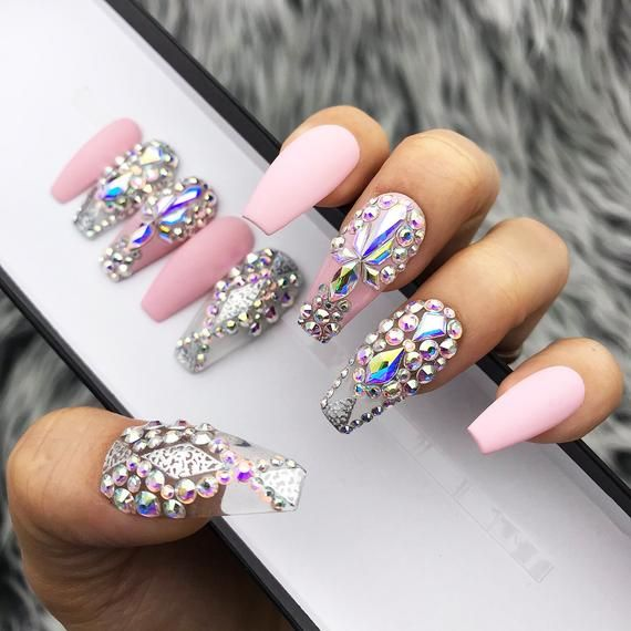 Hey I Found This Really Awesome Etsy Listing At Https Www Etsy Com Listing 579937544 Pink Fearless Silver Swaro Rhinestone Nails Crystal Nails Glue On Nails
