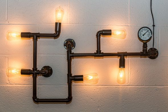 This pipework wall light comes from our large range of lighting. Smaller wall lights, large ceiling lights, pendant lights and letters also in stock now...