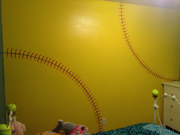 painted softball wall in daughters room softball