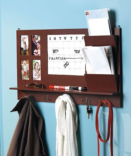 Wood Home Office Wall Organizer Calendar Dry Erase Mail