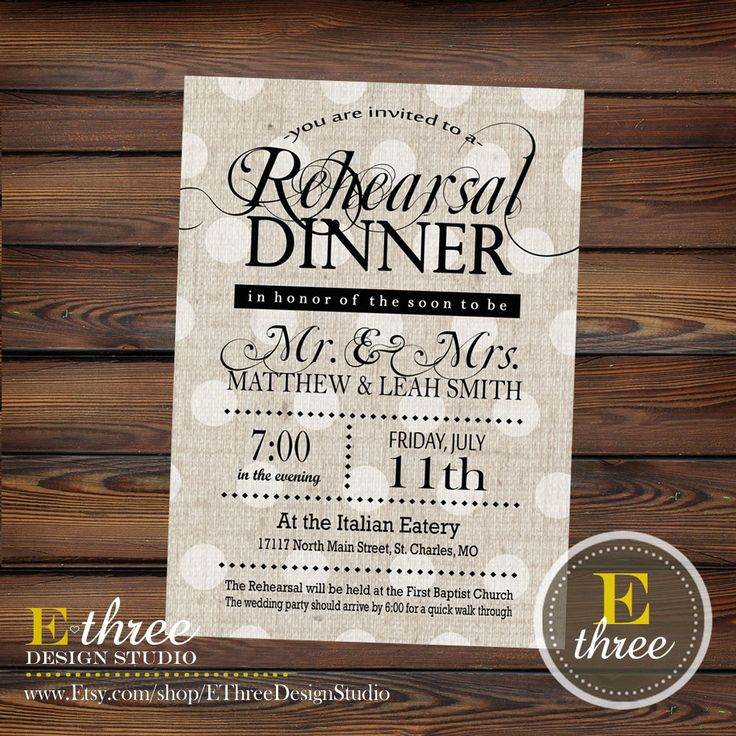 Printable Rehearsal Dinner Invitation by EThreeDesignStudio 1500
