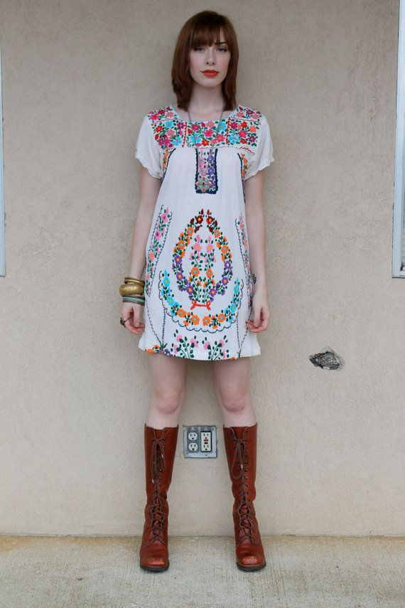 Dress Mexican Dress, paired with long boots