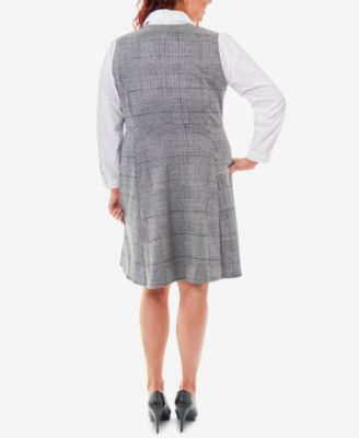 Ny Collection Plaid Plus Size Fit & Flare Blouse Dress – White 1X