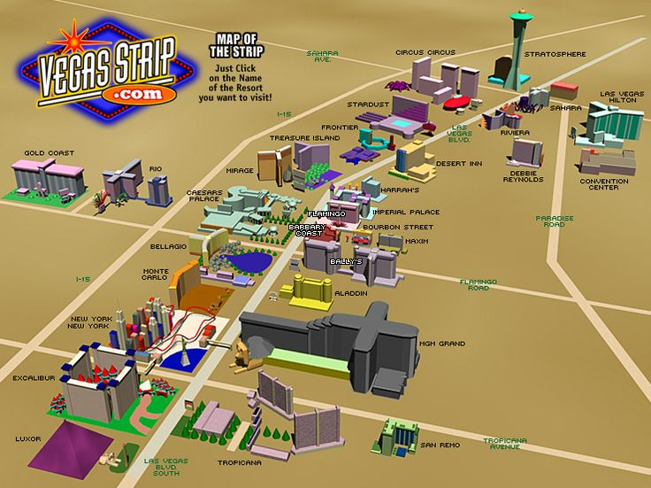 Las Vegas Strip Vegasstripcom Visualization - Las vegas map of hotels