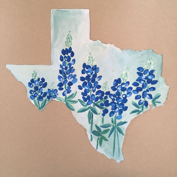 Texas and her Blue Bonnets - Original painting in gouache by Sarah Miller