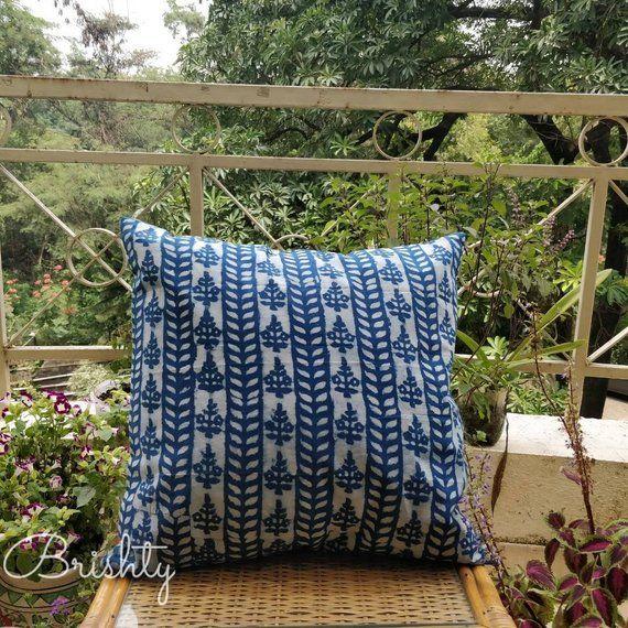 Block Printed Indigo Pillow Covers 18x18 Pillow Cover Blue