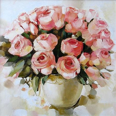 Roses flower - oil painting by Diana Sadykowa
