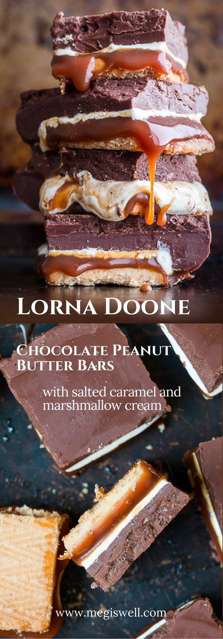 These no-bake Lorna Doone Chocolate Peanut Butter Bars are layered bites of everything good: cookies, salted caramel, marshmallow cream, and chocolate peanut butter. | http://www.megiswell.com
