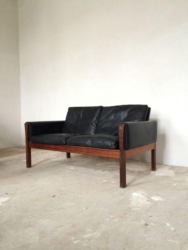 Original Hans Wegner Sofa Modell AP 62, Dänemark.  Schwarzes Leder und Palisander.  Sehr gepflegter...,Hans Wegner AP 62 Leder Sofa Couch 2-sitzer Danish Design 60s in Nordrhein-Westfalen - Lemgo