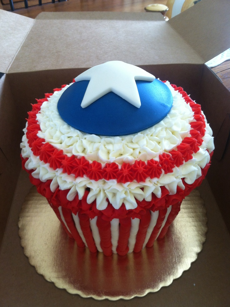Captain America giant cupcake done for a friends son.
