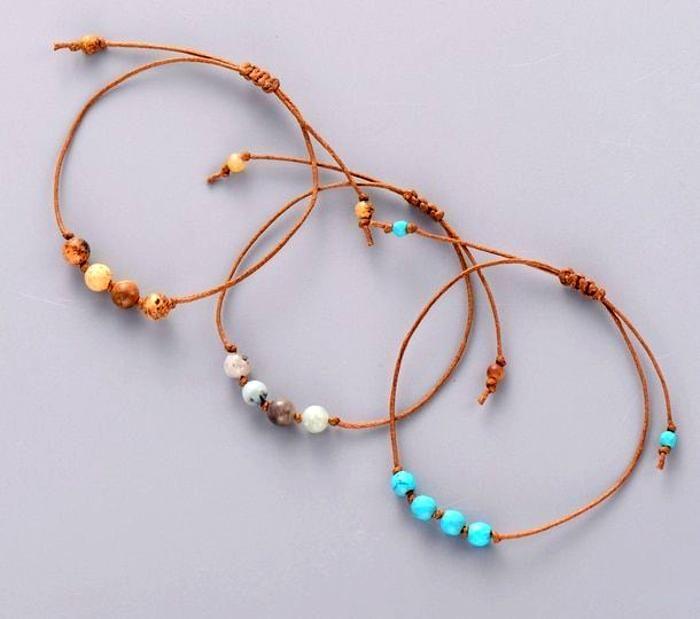 Diy Bracelets For Women Simple Bracelet Stones Bead Friendship Bracelet Boho Cord Knot In 2020 Friendship Bracelets With Beads Simple Bracelets Beaded Bracelets Diy