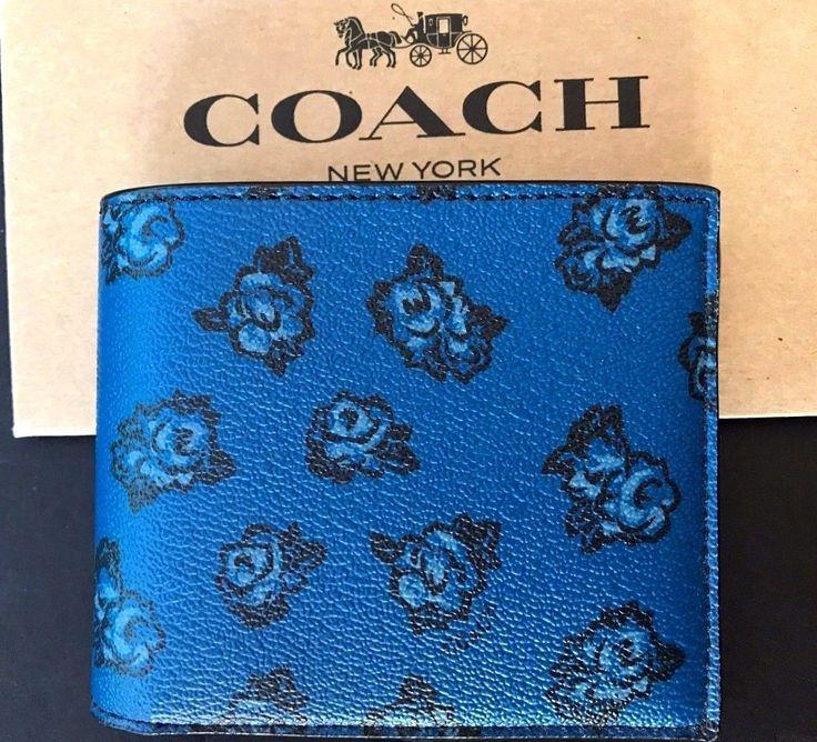 NWT Coach Mens $175 3IN1 Blue Denim Floral PVC Leather ID Billfold Wallet F57654