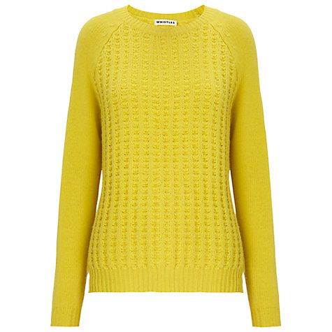 Buy Whistles Stitch Front Boxy Cardigan, Yellow Online at johnlewis.com