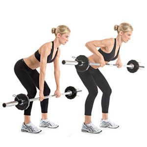 Pull: Barbell Row  Grab the barbell with an overhand grip that's just beyond shoulder width, and hold it at arm's length. Bend at your hips and knees and lower your torso until it's almost parallel to the floor. Pull the bar to your upper abs. Pause, then slowly lower the bar back to the starting position.