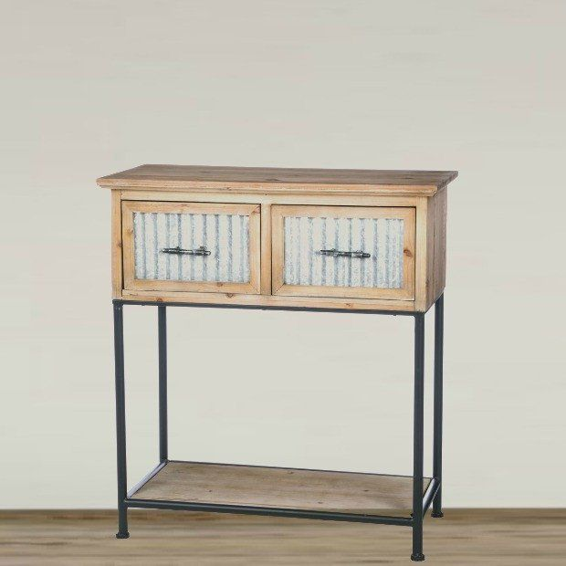 wooden console table with corrugated metal accents