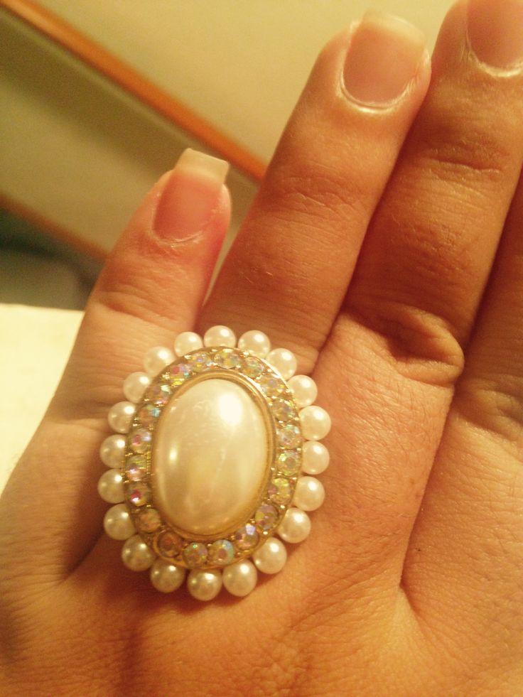 Made this pearl rhinestone ring myself.