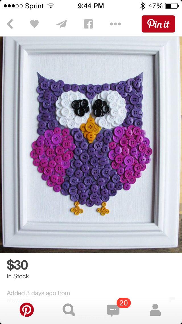 Purple Button Owl  Craft