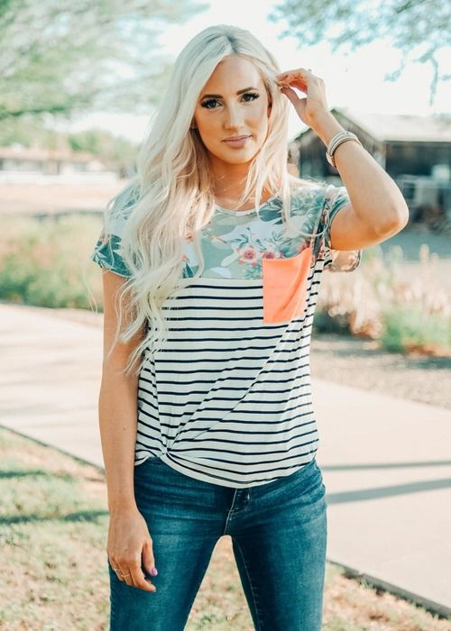 d9bb0e283b7 Spoken For Striped And Floral Top With Neon Pocket CLEARANCE in 2019 ...