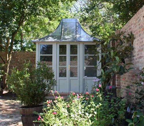 potting shed in a courtyard or walled garden