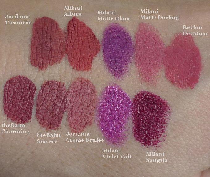 Jordana Tiramisu, Milani Allure, Milani Matte Glam, Milani Matte Darling, Revlon Devotion, theBalm Charming, theBalm Sincere, Jordana Créme Brulée, Milani Violet Volt, Milani Sangria #milani #milanicosmetics #jordana #jordanacosmetics #lipsticks #rtěnky #matteglam #mattedarling #allure #tiramisu #thebalm #sincere #charming #cremebrulee #violetvolt #sangria #revlon #devotion