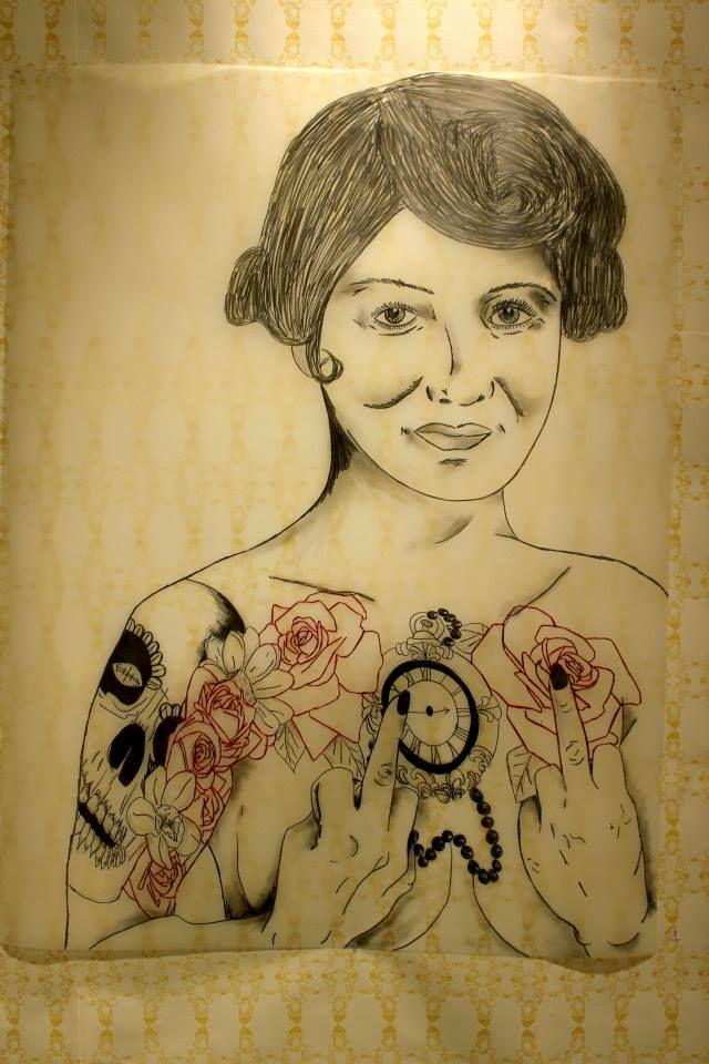 Roxanne Lacourcière - Je vous emmerde (2014) plomb et broderie sur papier acétate, sérigraphie, 29.5PO X 42,5PO – Prix : 400$