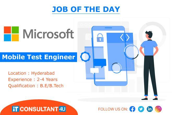 Mobiletestengineer Testingjobs Softwaretestingjobs Itconsultant4u Hyderabadjobs In 2020 Engineering Companies Software Testing Manual Testing