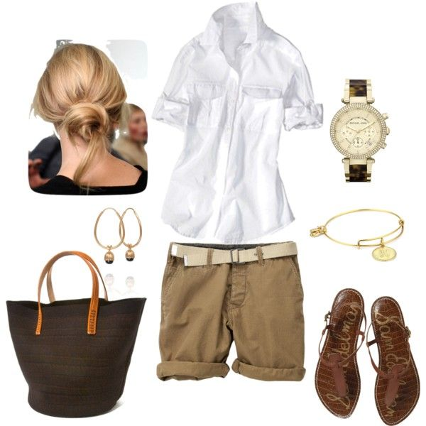 Weekend Look.Casual Style, Casual Chic, Weekend Wear, Clothing, The Weekend, Summer, Kahki Shorts Outfits, Polyvore, Weekend Casual Fashion