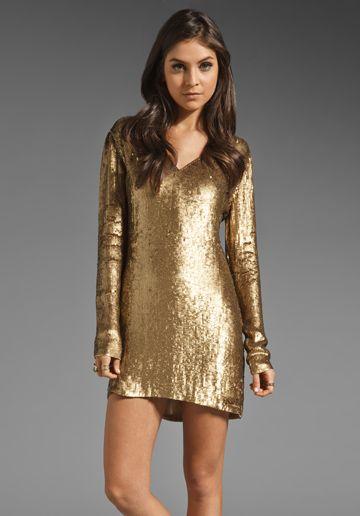 HAUTE HIPPIE V Neck Sequin Dress in Gold at Revolve Clothing