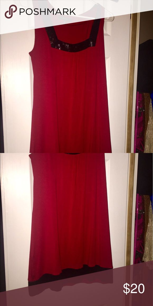 Express tunic dress Red tunic dress with black sequins Express Dresses