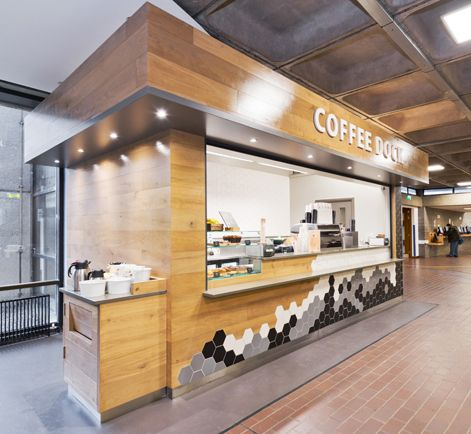 Hospitality Design - Fit Out - Coffee Dock - Shop - Station - Cafe - Hexagon Tile - Black - White - Grey - Wood - Contrast - Condiments - University College Dublin, Dublin by Think Contemporary