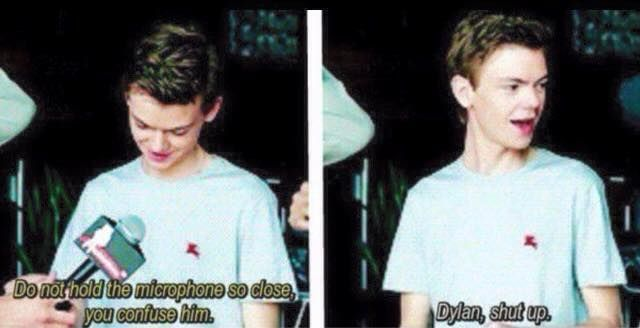 Thomas Brodie Sangster and Dylan o'Brien.. This is hilarious.