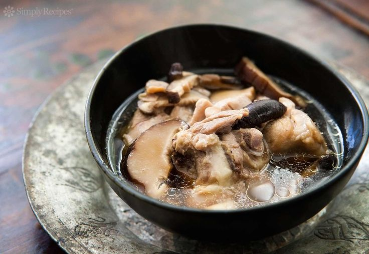 Chicken Soup with Ginger and Shiitake Mushrooms ~ A simple, light Chinese soup with chicken thighs, shiitake mushrooms and ginger. ~ SimplyRecipes.com  [asian style recipe]