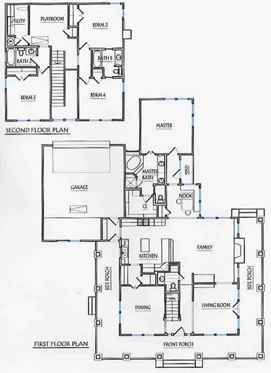 Prairie style 2651 square foot air conditioning 2 for Two story master down floor plans