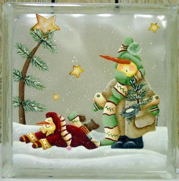 """I see loads of these painted glass blocks. So I thought I would add some of mine. Here is the first one. I also painted this scene somewhere else....it's called, """"Clueless and Clumsy"""".:"""