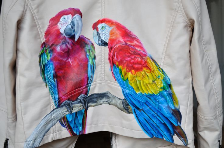 Parrot Jacket- hand painted leather jacket by melissa alt cakes