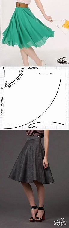 Шьём юбку клёш - полусолнце c одним швом | Умелые ручки