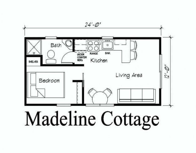 Pin On 12 X 24 House Plans Simple cottage house plan