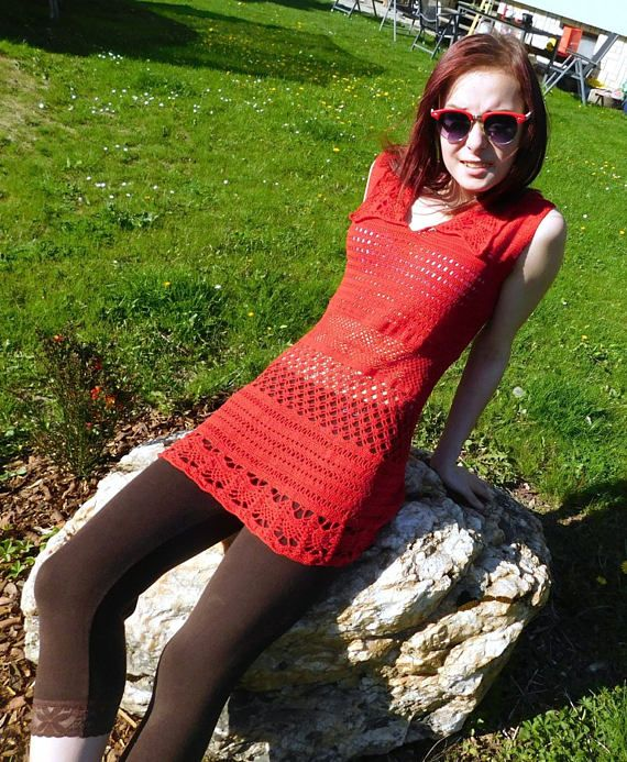 RED CROCHET TUNIC with collar