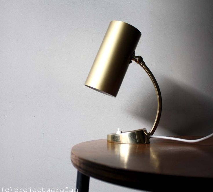 Vintage 1970s Table Lamp. Gold Metal Cylinder Lampshade. Vintage Lighting. Minimalist. €82.00, via Etsy.