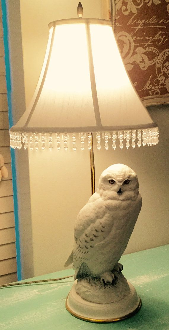 1987 Franklin Mint Raymond Watson Snowy Owl Table Lamp