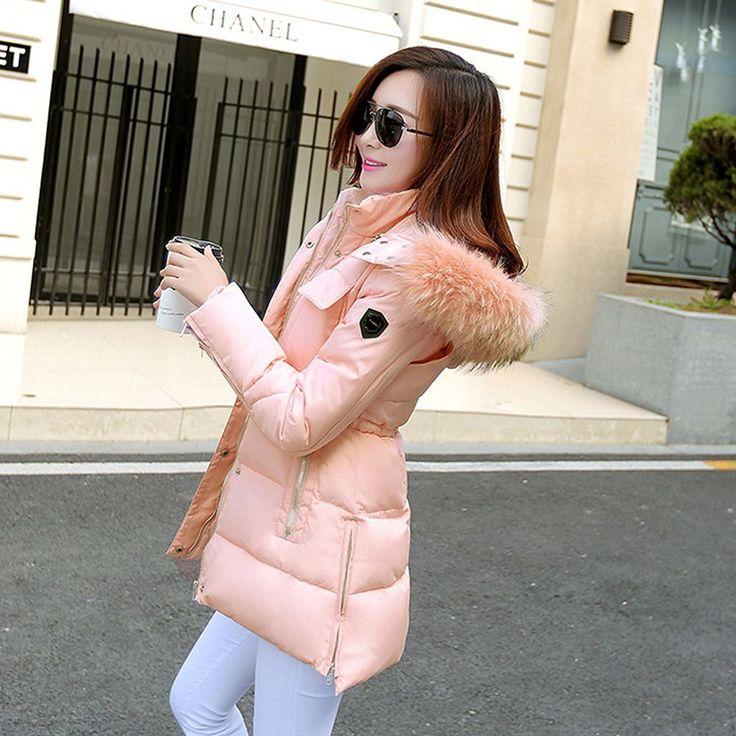 Elegant Daunenjacke Damen mit Pelz Kapuze Mantel Baumwolle Winter Coat Parka Jacke