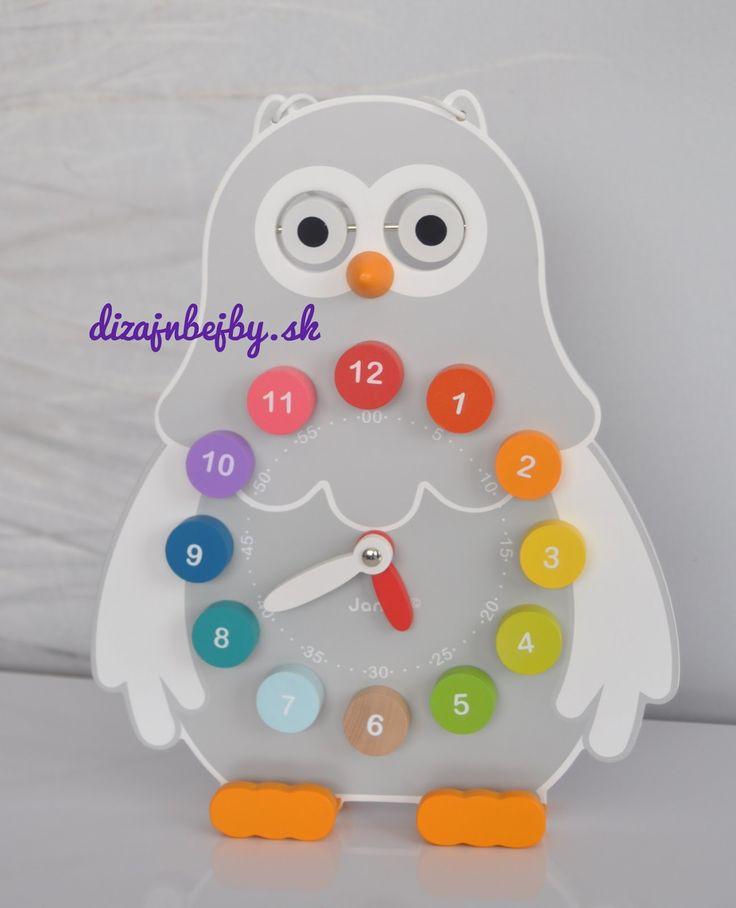 hravé-originálne-detské-eko: Koľko je hodíííín?... Detské drevené hodiny - Sovička od JANOD