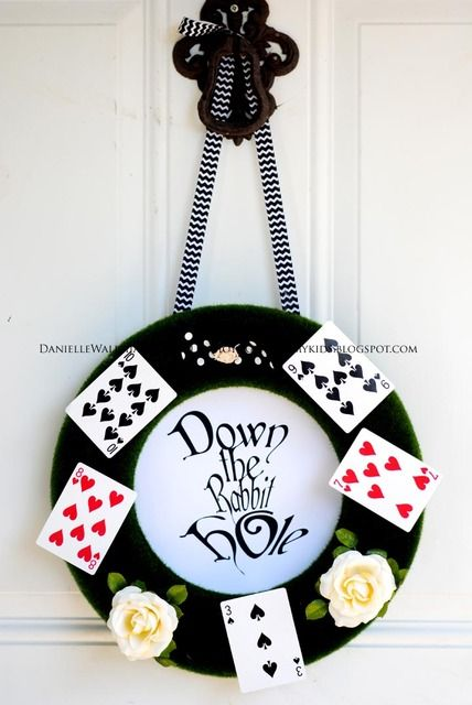 Cool wreath at an Alice in Wonderland party! See more party ideas at CatchMyParty.com! #aliceinwonderland #partyideas