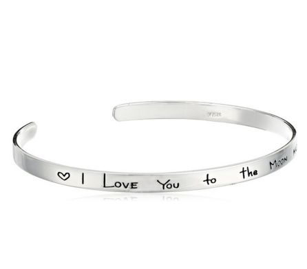 "Sterling Silver ""I Love You to the Moon and Back"" Cuff Bracelet, 7"""