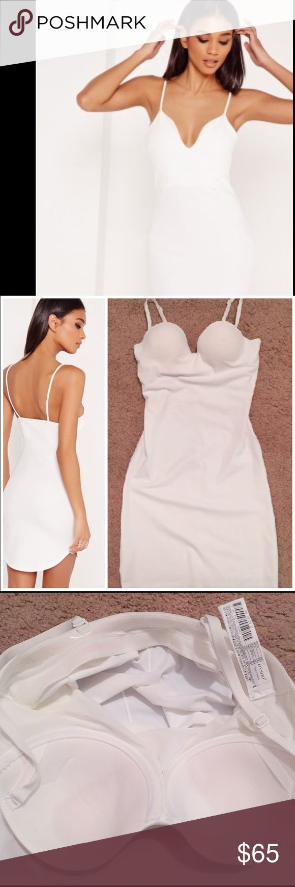 """NWOT ZARA White body shaping bodycon bra top dress NWOT Oysho White spaghetti straps body con slip dress. Brand new, no defects. Body con type with spaghetti straps and bra top. This is shape-forming slip, so it compresses the waist and emphasizes(?) the curves. Has mesh lining inside and has a sticky tape on the hem. I will not try this on but the main photo is close to its fit. Thick polyester, not see through but I still wouldn't wear colored underwear. Total length: 25"""", straps are…"""