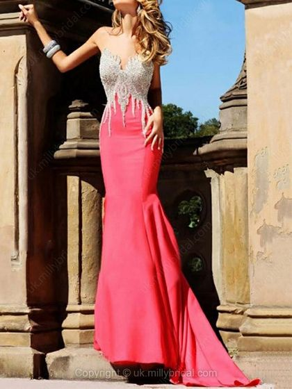 Trumpet/Mermaid Sweetheart Satin Court Train Beading Prom Dresses -USD$191.41